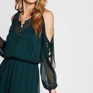 Express hunter green chiffon cold shoulder dress